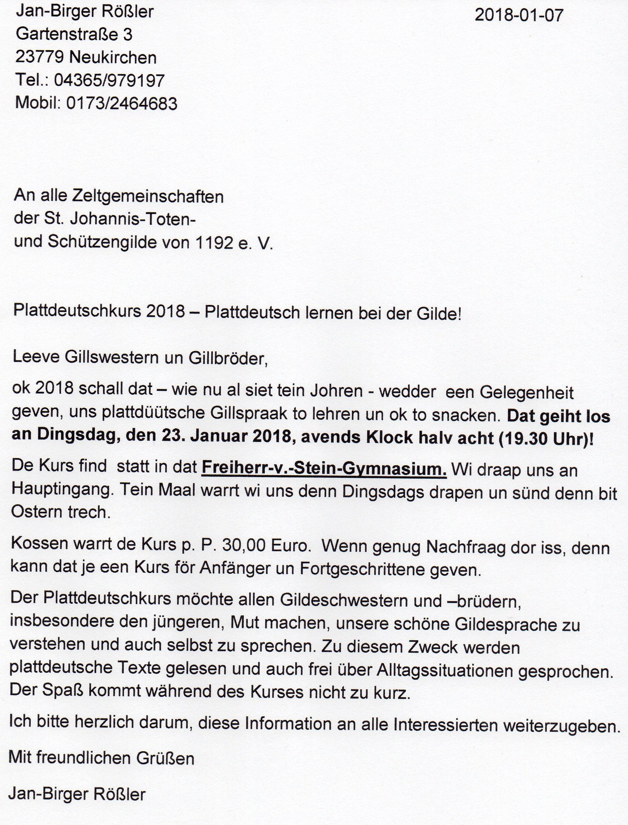 Weihnachtsgrüße Plattdeutsch.Bernd Schultz St Johannis Toten Und Schützengilde V 1192 E V